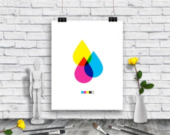 Digital Print - Cyan - Magenta - Yellow - Black - Poster - 4 Color Poster - Graphic Art - GRAPHIC DESINGER GIFT- Instant Download Poster