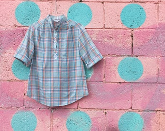 Vintage Sky Blue Plaid Camp Shirt (Size Small/Medium)
