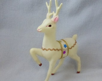 Vintage White Celluloid Deer with Gold Rick Rack and Ribbon Trim CD151