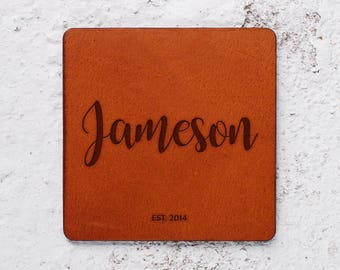 Leather anniversary, Leather coasters, Leather gifts, Gift for women Leather anniversary for him, Leather coaster personalised, Personalise
