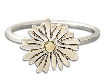 Sterling Silver and Gold Flower Ring - Nature Ring Bohemian Findings - Bohemian Ring Gift for Her - Statement Ring
