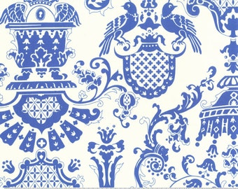 Quilting cotton fabric by the yard, blue white bird fabric, 100% premium sewing cotton by fabric designer Paula Prass for Michael Miller