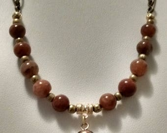 Red Agate and Brass Elephant Pendant Necklace