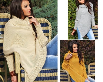 Asymmetrical Knitted Poncho