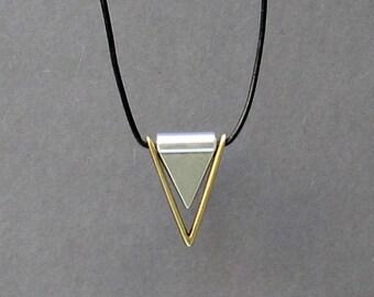 Mens Necklace Pendant, Geometric Triangle Mens Silver Leather Necklace, Best Friend, Boyfriend Gift Adjustable
