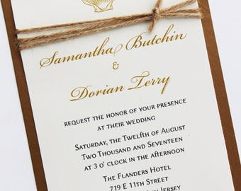 Rustic Seashell Wedding Invitation; Natural Twine