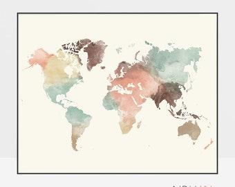 World map art, World map poster, print, watercolor Map, Large world map, world map pastel, gift decor, home decor ArtPrintsVicky