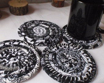 Black and White Bohemian Coasters - Set of 4 Absorbent Coasters, Handmade by Me