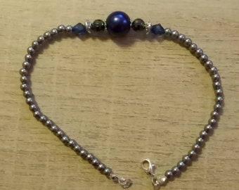 Ankle bracelet blue beads