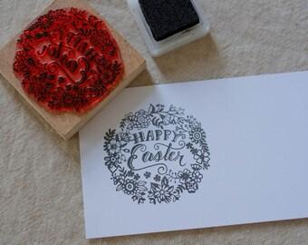 Easter stamp/ wood mounted stamp/ scrapbooking stamp/ floral stamp/ clear stamp/ card making/ Easter greetings