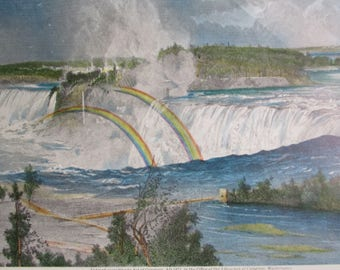 NIAGARA Vintage Color Reproduction Print Nature Art Mountains Lakes Rivers Ready to Frame Additional Prints Ship Free