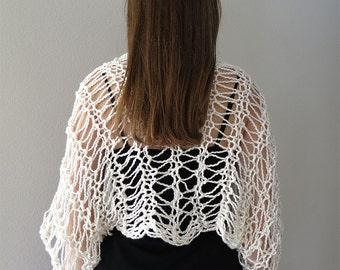 Organic Cotton Yarn Off White Pastel Light Cream Color Lacy Shoulder Shrug Bolero Sleeves