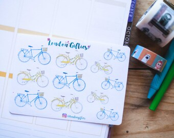 Vintage bikes - decorative watercolour planner stickers suitable for any planner -303-