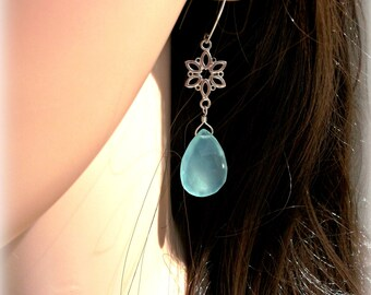 Aqua Chalcedony Large Drop Earrings On Sterling Silver - Wedding Earrings - Bridal Gift - Gift For Her