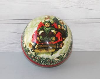 Vintage Large Paper Mache Christmas Candy Holder - Germany, Vintage Paper Mache Candy Container Ball