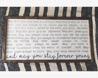 Forever Young Lyrics - Large wood sign