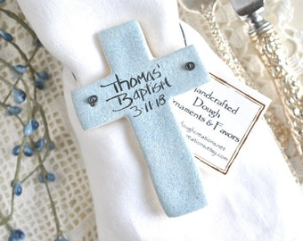Personalized Cross Baptism Favors Set of 10 Christening / Easter Napkin Rings Salt Dough Ornaments