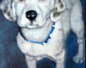 Original custom pet portrait painting from your photo, oil painting on canvas, dog portrait or any animal, example Dalmatian puppy