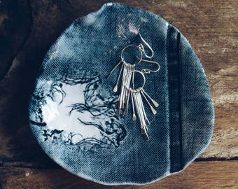 TIMELESS - Handmade porcelain dish/tray with the impression of denim.  Blue and white home decor.