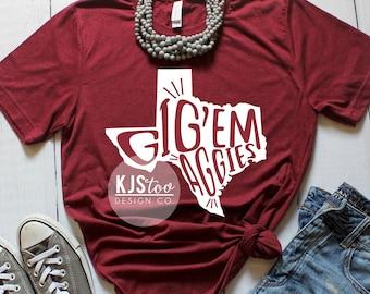 Texas A&M Tee - Gig Em Aggies TShirt - Texas Aggies Shirt - Maroon and White Aggies Tee - Maroon and White Gig Em Tee - Aggie Football Tee