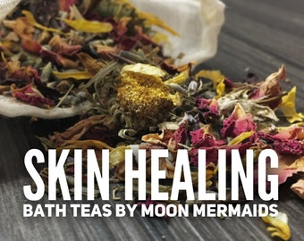 3 Bath Teas, Herbal Bath Tea, Botanical Bath Soak, Rose, Lavender, Chamomile Bath Tea, Skin Healing Remedy Bath Tea