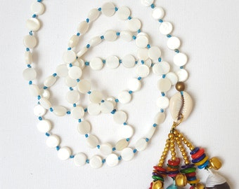 Shell Necklace, Boho Necklace, Knotted Necklace, The Beach Jewelry