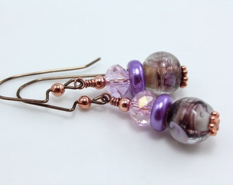 Purple Confetti Glass and Crystal Earrings