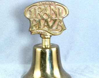 Vintage Solid Brass Bell // Amway Grand Plaza Hotel // Handle Impression // Super Clear Ring // Collectible