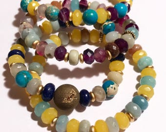Stack Bracelets, Yellow Bracelets, Stacking Bracelets, Stretchy Bracelets, Boho Bracelets, Gemstone Bracelets, Beach Bracelets, Set of four