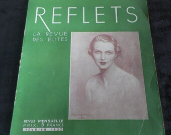 REFLETS french magazine Elites review of February 1937    Vintage Paris France Presse