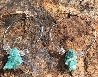 Turquoise stone hoop earring with beads