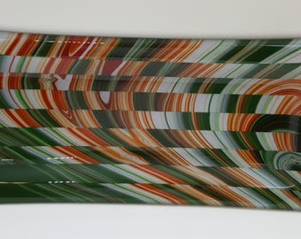 Christmas Stripes Fused Glass Dish