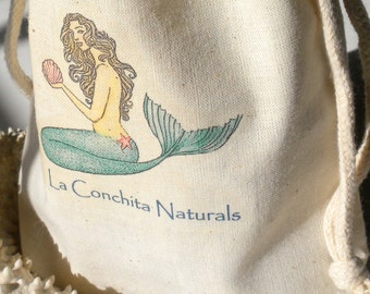 Mermaid Gift Bag - Eco-Friendly Muslin Cotton Gift Bag - On Sale AND Ships Free with Purchase of Any Item in the Shop