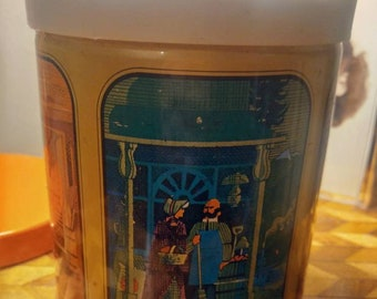 Vintage Procter and Gamble Fluffo Shortening or Coffee Tin Stash Can Kitchen with 4 Scenes from the Past