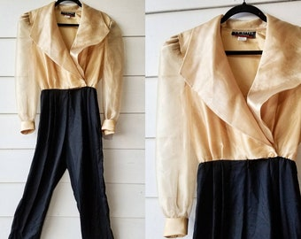 1980s Gold and Black Jumpsuit || Medium