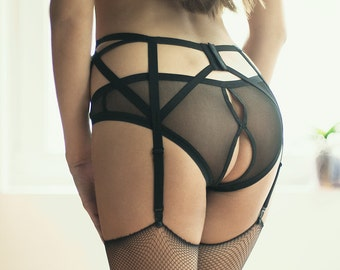 Sheer Lingerie Panties, Crotchless Panties, Burlesque Lingerie, Open Back Panties, Erotic Panties, Women Panties, Sexy Panties, Gift For Her