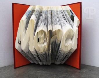 Folded book - Merci - Book sculpture - Altered book - Craft - Gift - Book art - Thank you