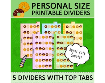 PRINTABLE Personal Size Cute Kawaii Donuts DIY Dividers 5 Top Tabs for Filofax Organizer Planner Instant Download