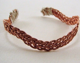 Handwoven copper and sterling silver wire wrapped bracelet