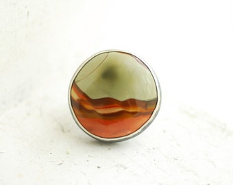 Picture Jasper Ring, Large Statement Ring, Round Ring