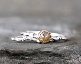 Twig Engagement Ring Golden Rose Cut Diamond  - Sterling Silver 14K Yellow Gold  - Tree Branch Rings - Nature - Alternative Engagement Ring