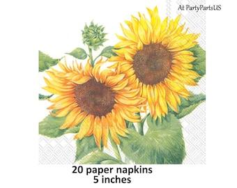 sunflowers beverage napkins, summer flowers bridal shower, floral wedding tableware, sunflower birthday party decorations, cocktail, garden