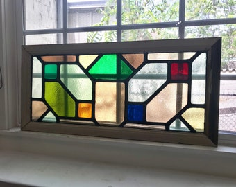 Awesome Geometric Pattern Stained Glass Window! FREE SHiPPING!!