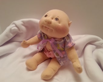 Soft Sculpture Baby Doll, Cloth Doll, Handmade Doll, Plush Baby Doll