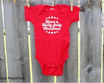 Holly Jolly Christmas Baby Bodysuit, Christmas, Baby's 1st Christmas, Christmas Baby
