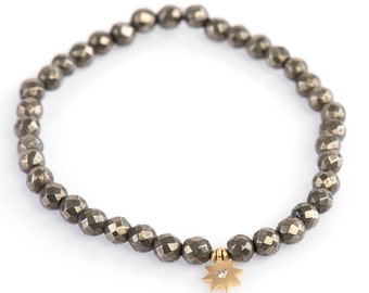 Pyrite Bracelet, 4 mm Faceted Pyrite Bracelet, Gemstone Bracelet, Stretch Bracelet, Yoga Bracelet, Stacking bracelet