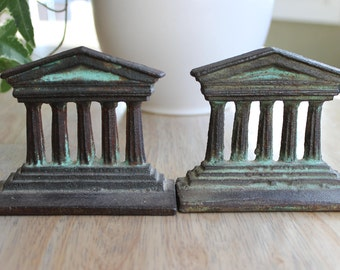 Cast Iron Column Bookends, Architectural Bookends, Pillar Bookends