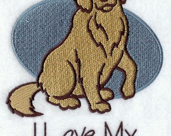 I Love My Mutt Embroidered Flour Sack Hand/Dish Towel