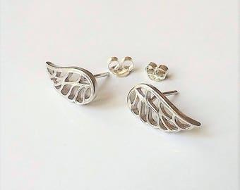 Silver Stud Earrings, Angel Wing Stud Earrings, Sterling Silver Post Earrings, Minimalist Everyday Jewelry.