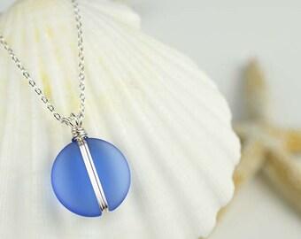 Blue sea glass pendant wire wrapped sea glass necklace wire wrapped pendant blue beach glass sea glass jewelry seaglass beach wedding gifts